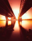 Railway Bridge in Kiev at sunrise. Ukraine.