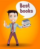 Business boy sell book