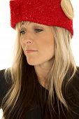 Blond Woman Elf Hat Close Look Look Down