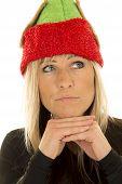 Blond Woman Elf Hat Close Look Up Hands Under Chin
