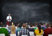 Multiethnic People Seminar Copy Space Conference Blackboard Concept