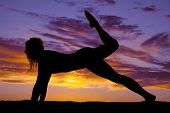 Silhouette Woman From Side Push Up Leg Up Knee Bent