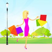 woman shopping bags walking park outdoor vector
