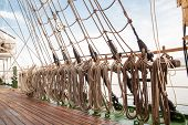 stock photo of sailing vessel  - ropes on an old vessel sailing in the sea - JPG