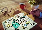 Online Security Protection Internet Safety Businessman Writing Concept