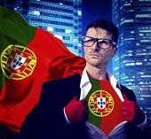 Businessman Superhero Country Portugal Flag Culture Power Concept