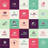 pic of health center  - Set of vector flat design icons for beauty and healthy life - JPG