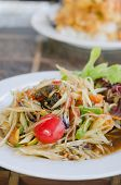 pic of green papaya salad  - Thai spicy papaya salad serve with vegetables - JPG