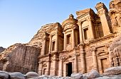 picture of petra jordan  - Monastery with blue sky in background high in Petra mountains - JPG