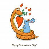 Cute Cartoon Boa, Rabbit And Heart Carrot. Vector Illustration. Happy Valentine`s Day Or Birthday Gr