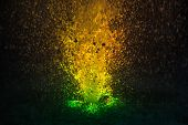 Colorful Fountain Splashes Yellow And Green Color