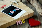 Love You Message On Blank Instant Photo