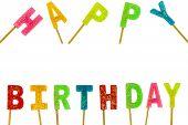 Colourful Rainbow Of Happy Birthday Text