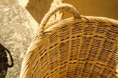Close up of handmade natural basket