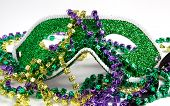 Green Mardi Gras Mask With Beads