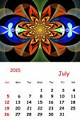 2015. July. Calendar With Beautiful Fractal Pattern.