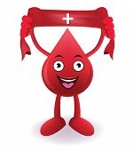 Cartoon Smiling blood with Donate drop blood red sign on towel