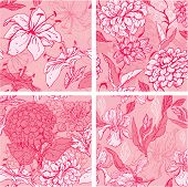 stock photo of lilly  - Set of 4 Floral Seamless Patterns in pink colors with handdrawn flowers  - JPG