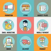 Vector Flat Concept Infographic Of  Process Mobile Shopping Service. Order And Delivery