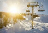 ski-lift in sunshine