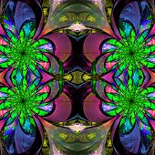 Pattern From Fractal Flowers. Green, Blue, And Purple Palette. Fractal Design. Computer Generated Gr