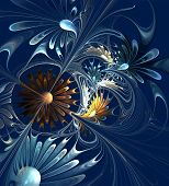 Flower Background. Blue And Brown Palette. Computer Generated Graphics.