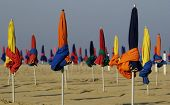 Parasol On Deauville Beach In Normandie