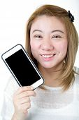 Isolated Of Asian Female Hands Holding The Phone