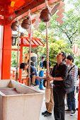 Tokyo,japan - May 25, 2014  Many People Donate Money And Benediction At Temple  Tokyo,japan