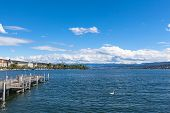 Wide View Of Zurich Lake And The Alps Beyond