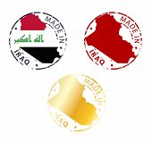 pic of iraq  - made in Iraq stamp set on white background - JPG