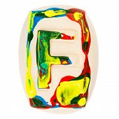 Colorful Handmade Of White Clay Letter F