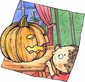 Little Child Looking At A Halloween Pumpkin