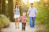 Young family walking in the park in the summer.