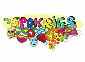 Greek holiday Apokries in doodle style