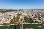 Wide Angle Aerial View Of Paris On Eiffel Tower