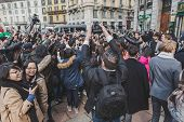 Crowd Outside Gucci Fashion Show Building For Milan Men's Fashion Week 2015
