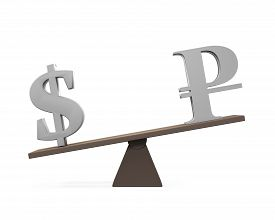 pic of seesaw  - Dollar and Ruble on Seesaw isolated on white background - JPG
