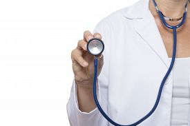 picture of stethoscope  - female doctor holding with her right hand a stethoscope standing isolated on a white background  - JPG