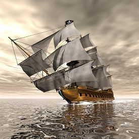 stock photo of historical ship  - Beautiful detailed Pirate Ship - JPG