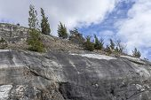 picture of hilltop  - Clouds stretch across sky of evergreen tree covered hilltop - JPG