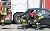 image of firehouse  - practice of firefighters in the Firehouse and simulation of traffic accident - JPG