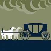 foto of carriage horse  - Vector illustration of abstract funny characters. Two strange horses behind the 	 carriage  - JPG