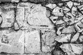 image of derelict  - Derelict brick wall and old tiling in black and white - JPG