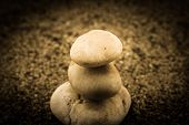 picture of garden sculpture  - zen garden sand waves and rock sculptures - JPG