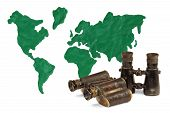foto of continent  - Continents and continents made of clay and old binoculars - JPG