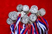 picture of medal  - Many silver medal with tricolor ribbons close - JPG