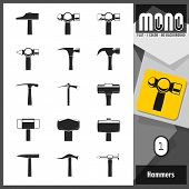 image of monochromatic  - Flat monochromatic icons of different types of hammers and mallets with transparent background - JPG