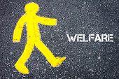 image of pedestrians  - Yellow pedestrian figure on the road walking towards WELFARE - JPG