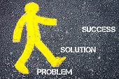 picture of pedestrians  - Yellow pedestrian figure on the road walking towards Problem Solution Success - JPG
